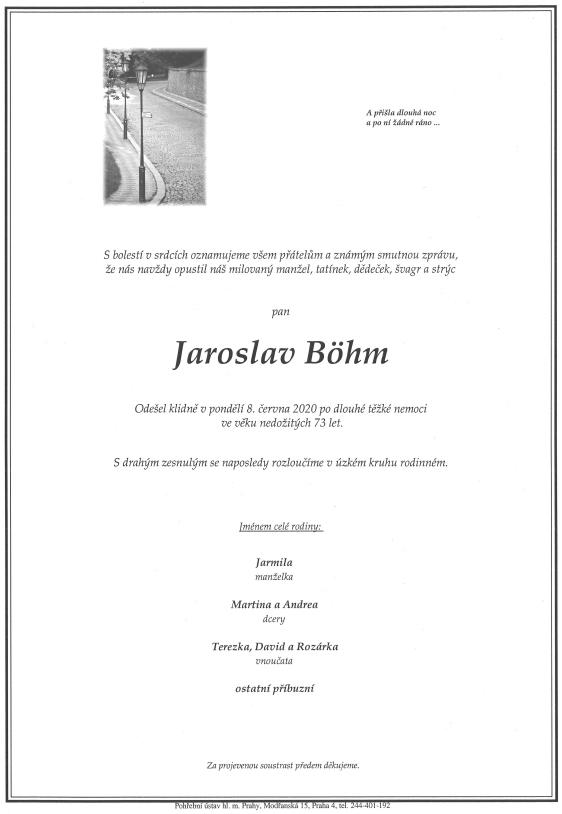odešel Jaroslav Böhm